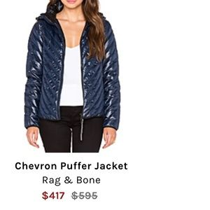 Rag & Bone Navy Puffer Jacket